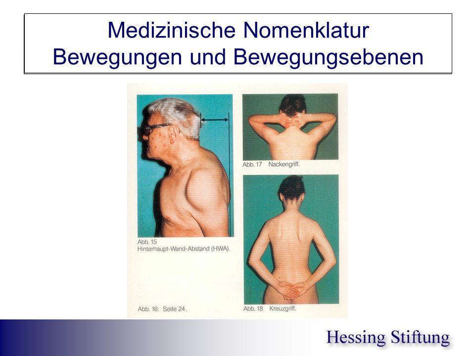 HWS Schulter Nacken-/Schürzengriff Medizinische Nomenklatur Bewegungen und Bewegungsebenen