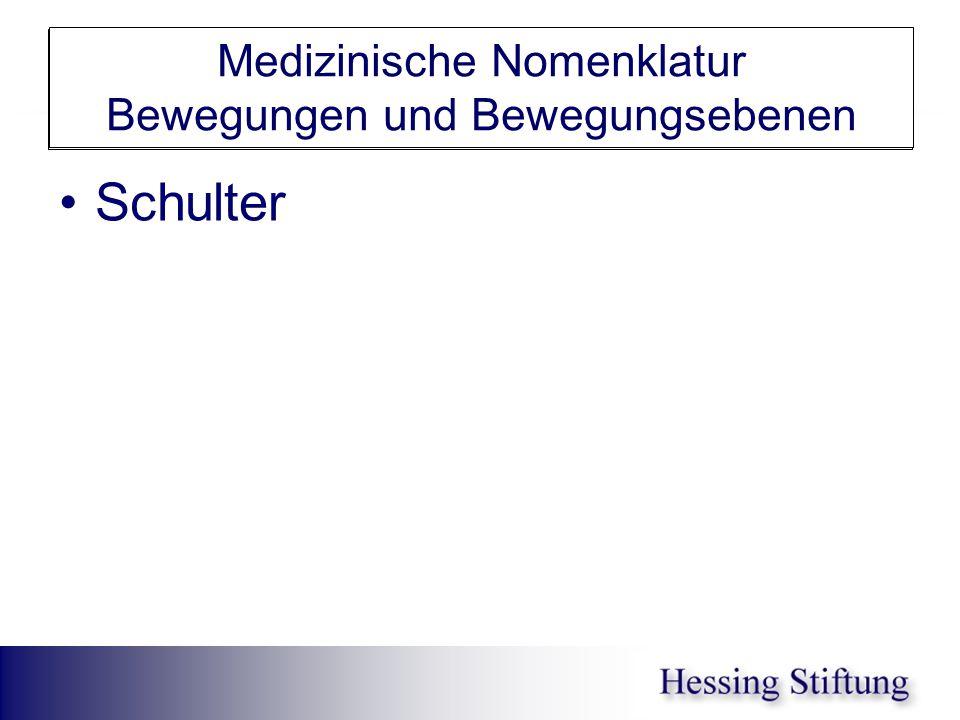 Schulter Medizinische Nomenklatur Bewegungen und Bewegungsebenen Schulter