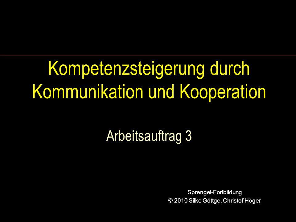 Kompetenzsteigerung durch Kommunikation und Kooperation Arbeitsauftrag 3 Sprengel-Fortbildung © 2010 Silke Göttge, Christof Höger