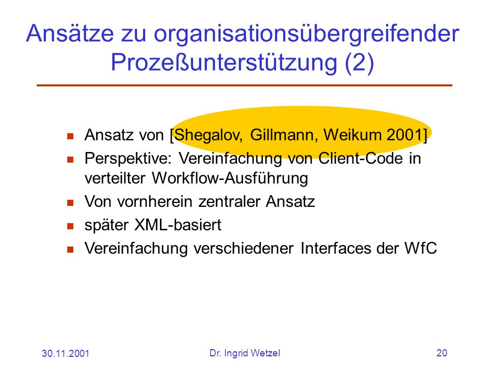 30.11.2001Dr. Ingrid Wetzel20 Ansätze zu organisationsübergreifender Prozeßunterstützung (2)  Ansatz von [Shegalov, Gillmann, Weikum 2001]  Perspekt