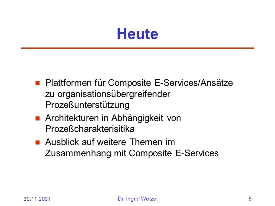 30.11.2001Dr. Ingrid Wetzel5 Heute  Plattformen für Composite E-Services/Ansätze zu organisationsübergreifender Prozeßunterstützung  Architekturen i