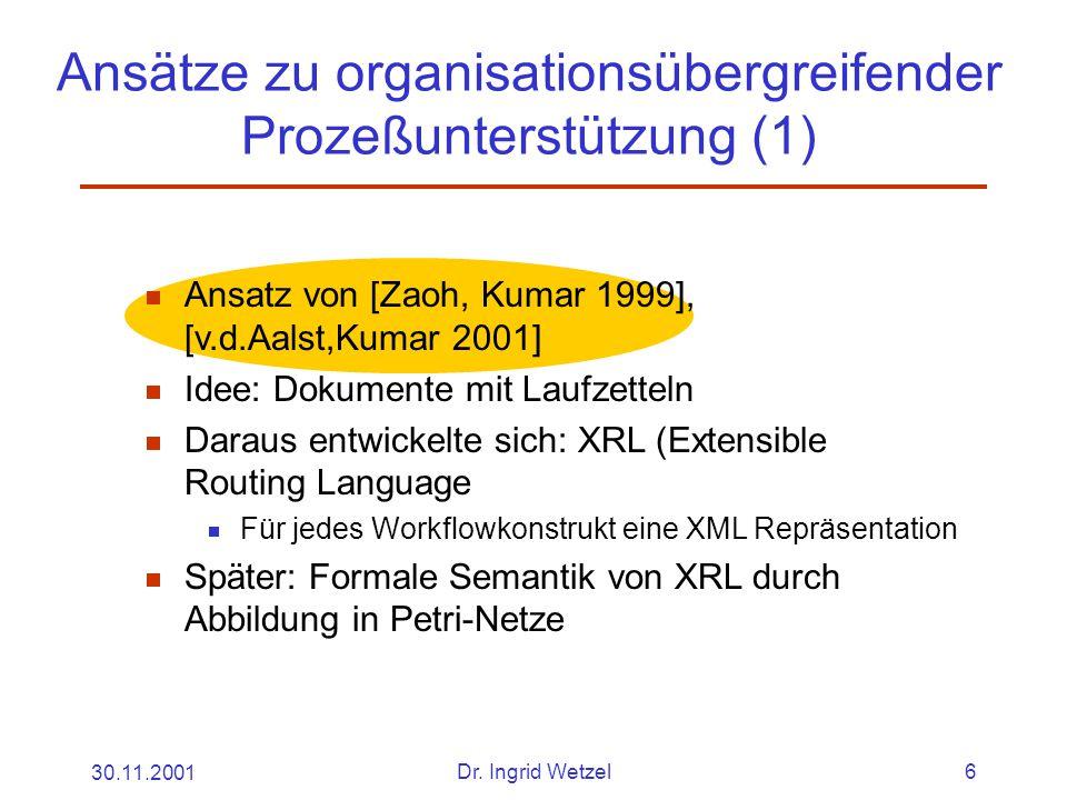 30.11.2001Dr. Ingrid Wetzel6 Ansätze zu organisationsübergreifender Prozeßunterstützung (1)  Ansatz von [Zaoh, Kumar 1999], [v.d.Aalst,Kumar 2001] 