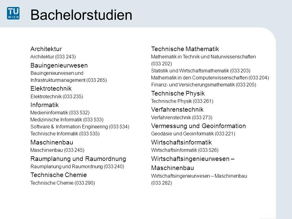 Bachelorstudien Architektur Architektur (033 243) Bauingenieurwesen Bauingenieurwesen und Infrastrukturmanagement (033 265) Elektrotechnik Elektrotech
