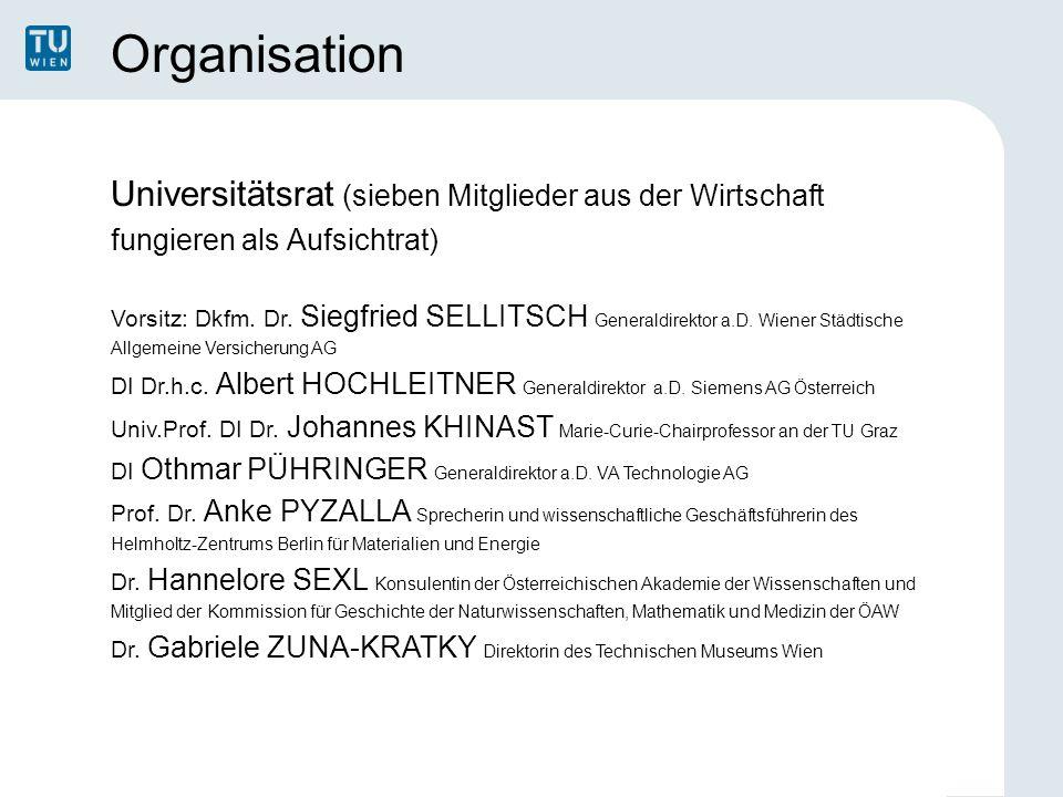 Organisation Universitätsrat (sieben Mitglieder aus der Wirtschaft fungieren als Aufsichtrat) Vorsitz: Dkfm. Dr. Siegfried SELLITSCH Generaldirektor a