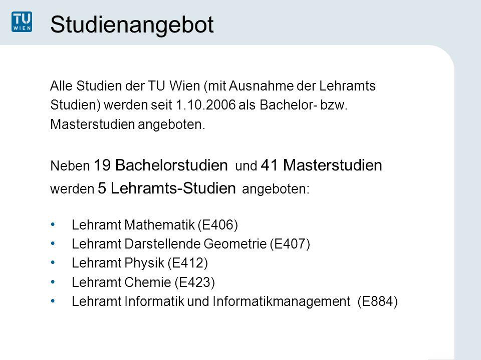 Studienangebot Alle Studien der TU Wien (mit Ausnahme der Lehramts Studien) werden seit 1.10.2006 als Bachelor- bzw. Masterstudien angeboten. Neben 19