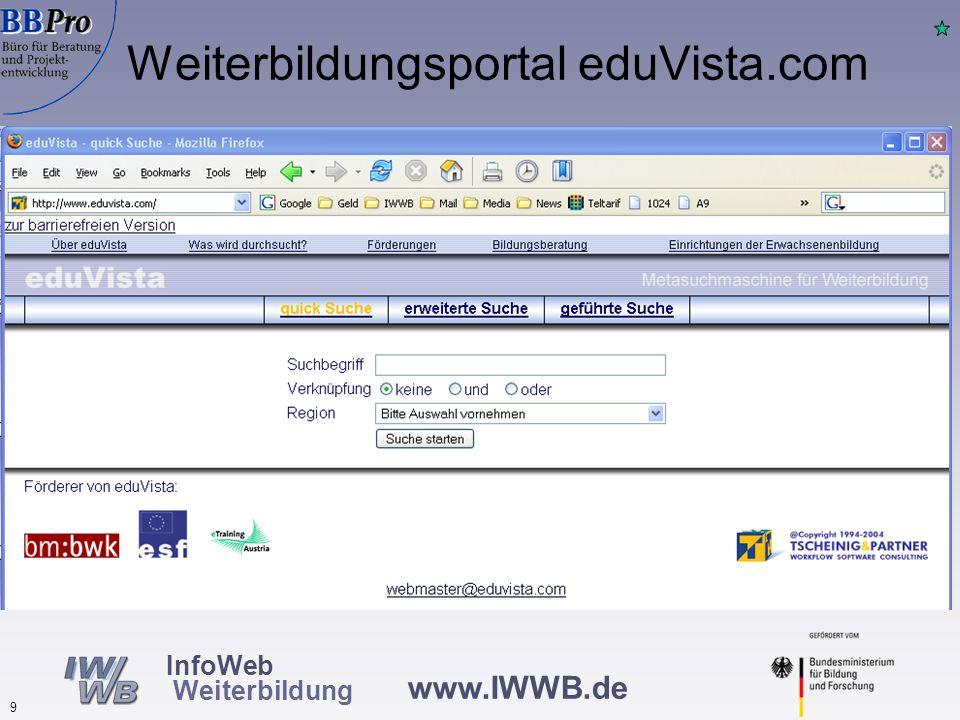 www.IWWB.de 9 InfoWeb Weiterbildung Weiterbildungsportal eduVista.com
