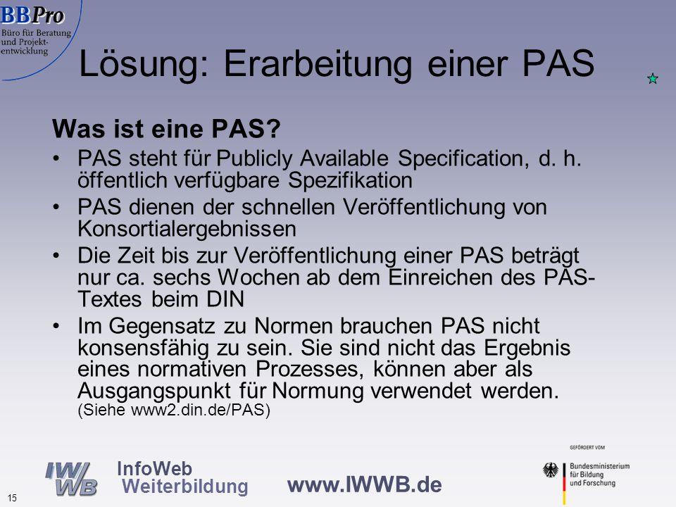 www.IWWB.de 15 InfoWeb Weiterbildung Lösung: Erarbeitung einer PAS Was ist eine PAS.