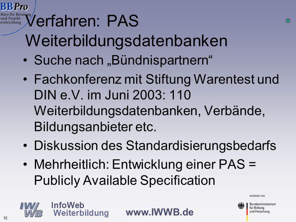 """www.IWWB.de 16 InfoWeb Weiterbildung Verfahren: PAS Weiterbildungsdatenbanken Suche nach """"Bündnispartnern Fachkonferenz mit Stiftung Warentest und DIN e.V."""