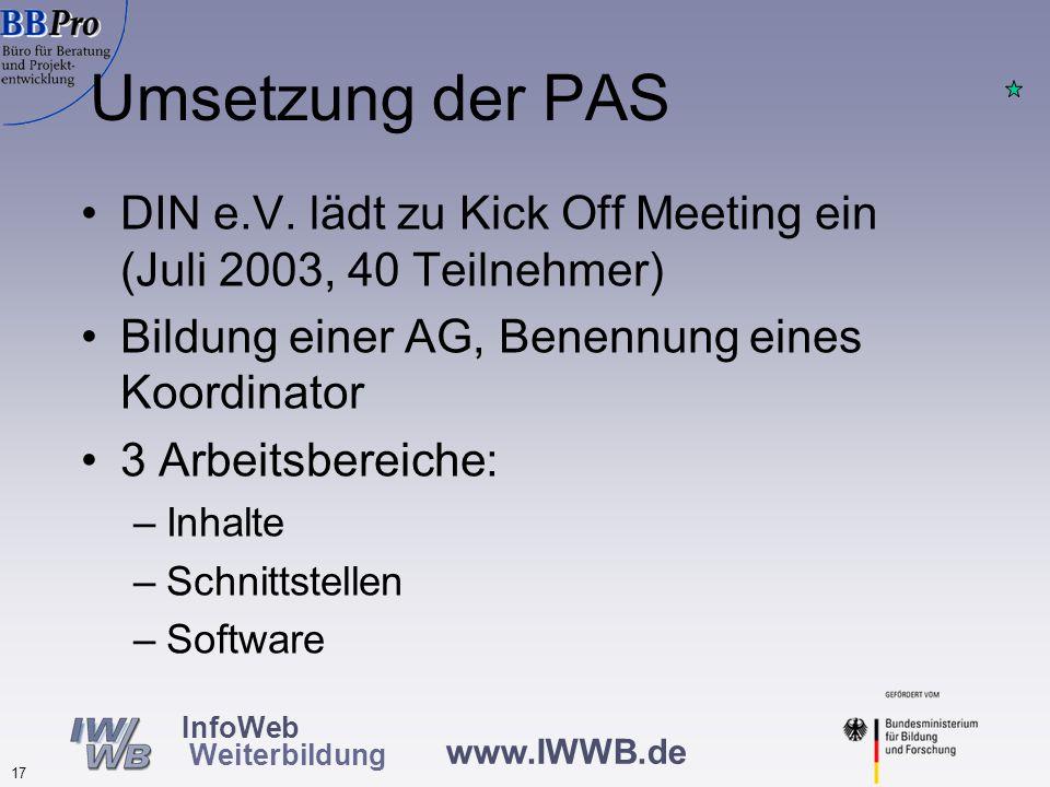 www.IWWB.de 17 InfoWeb Weiterbildung Umsetzung der PAS DIN e.V.