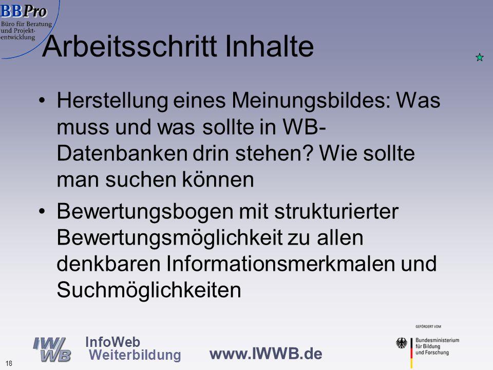 www.IWWB.de 18 InfoWeb Weiterbildung Arbeitsschritt Inhalte Herstellung eines Meinungsbildes: Was muss und was sollte in WB- Datenbanken drin stehen.