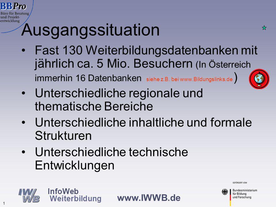 www.IWWB.de 1 InfoWeb Weiterbildung Fast 130 Weiterbildungsdatenbanken mit jährlich ca.