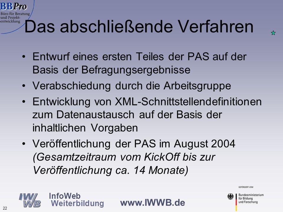 www.IWWB.de 22 InfoWeb Weiterbildung Das abschließende Verfahren Entwurf eines ersten Teiles der PAS auf der Basis der Befragungsergebnisse Verabschiedung durch die Arbeitsgruppe Entwicklung von XML-Schnittstellendefinitionen zum Datenaustausch auf der Basis der inhaltlichen Vorgaben Veröffentlichung der PAS im August 2004 (Gesamtzeitraum vom KickOff bis zur Veröffentlichung ca.