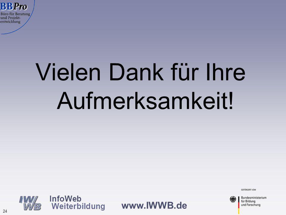 www.IWWB.de 24 InfoWeb Weiterbildung Vielen Dank für Ihre Aufmerksamkeit!