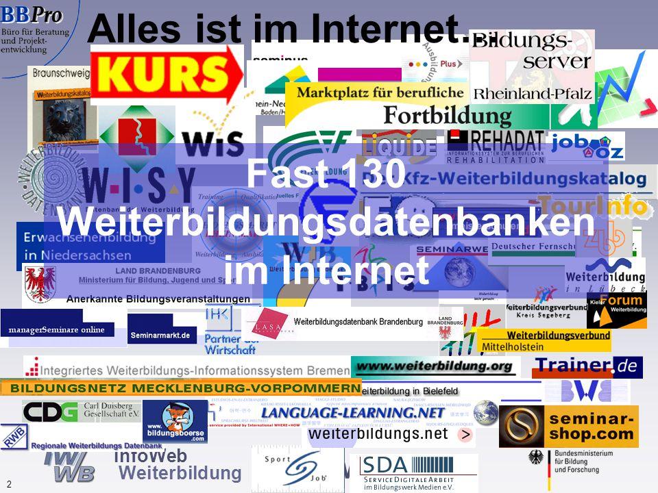 www.IWWB.de 2 InfoWeb Weiterbildung Fast 130 Weiterbildungsdatenbanken im Internet Alles ist im Internet…