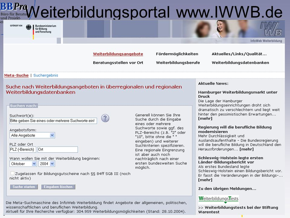 www.IWWB.de 8 InfoWeb Weiterbildung Weiterbildungsportal www.IWWB.de