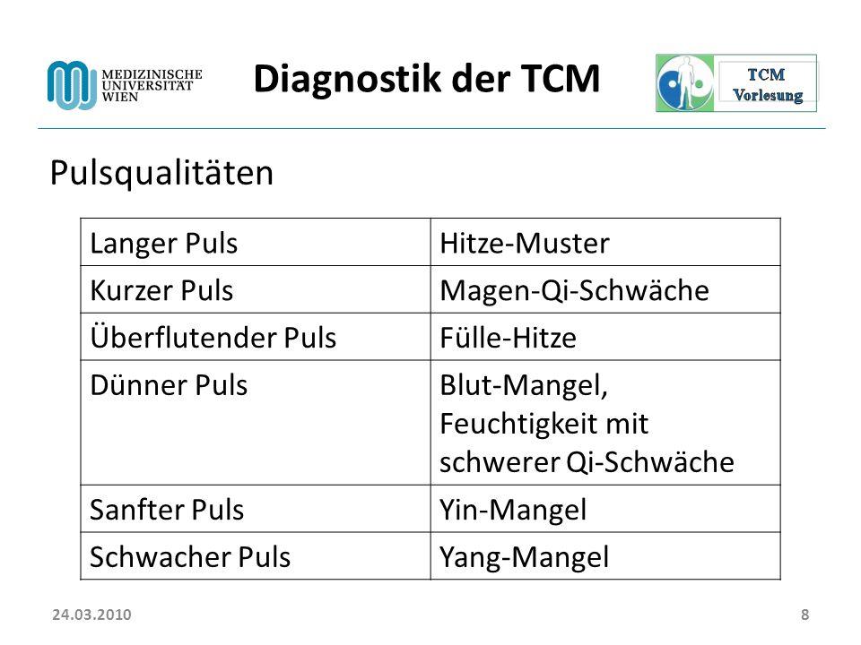 24.03.20108 Diagnostik der TCM Pulsqualitäten Langer PulsHitze-Muster Kurzer PulsMagen-Qi-Schwäche Überflutender PulsFülle-Hitze Dünner PulsBlut-Mange