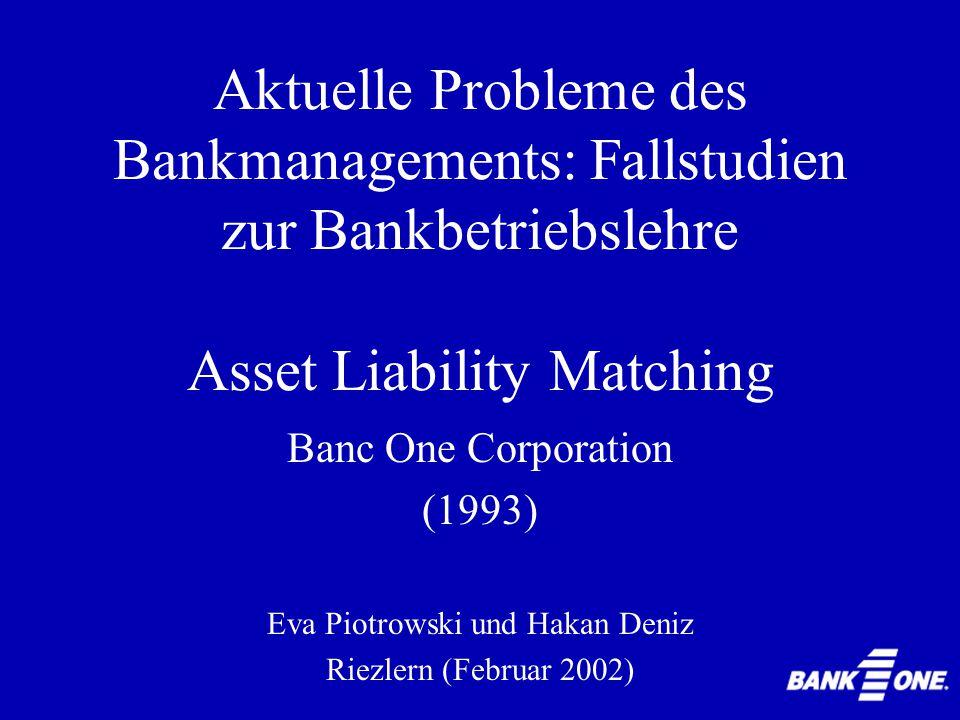 Asset Liability Matching 1986: Grenze für Earnings Sensitivity: 5% für plötzliche Zinsänderung von 1% 1993: Grenze für Earnings Sensitivity: 4% für allmähliche Zinsänderung zu 1%