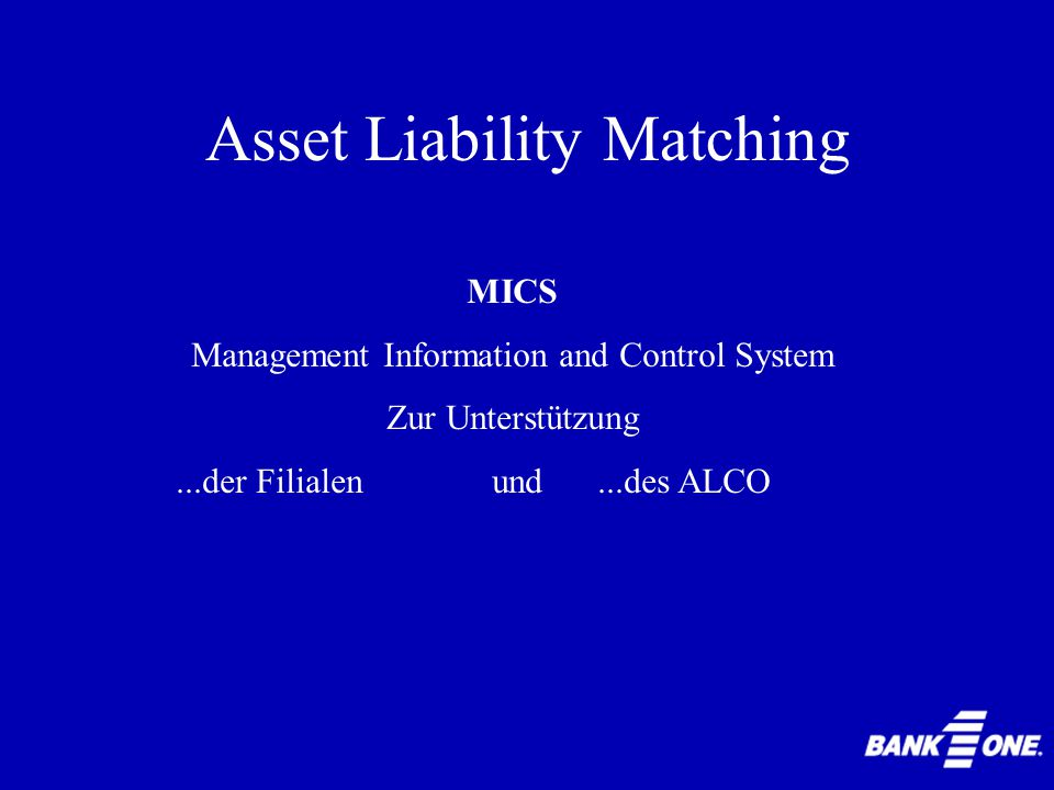 1.Banc One Corporation 2.Zinsänderungsrisiko 3.Management Information and Control System (MICS) 4.Asset Liability Management Committee (ALCO) 5.Handlungsalternativen 6.Diskussion