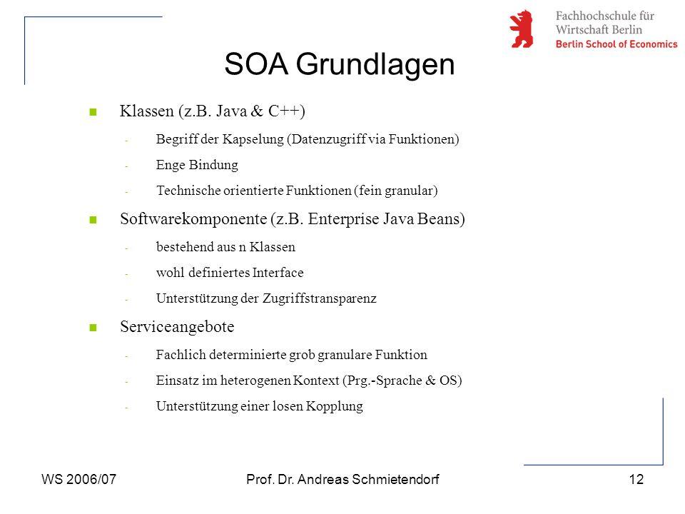WS 2006/07Prof. Dr. Andreas Schmietendorf12 n Klassen (z.B.