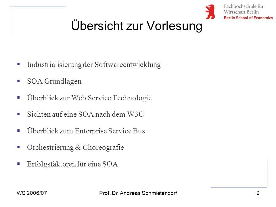 WS 2006/07Prof. Dr. Andreas Schmietendorf13 SOA Grundlagen