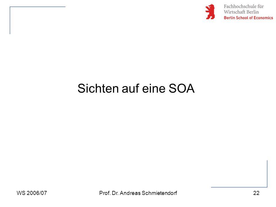 WS 2006/07Prof. Dr. Andreas Schmietendorf22 Sichten auf eine SOA