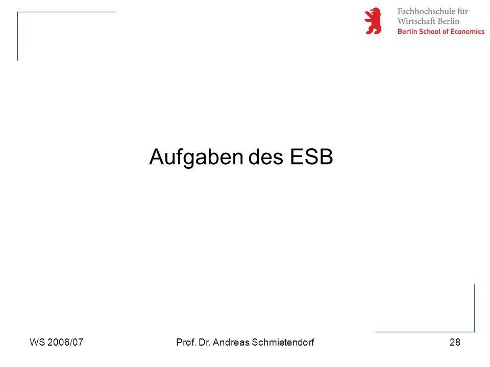 WS 2006/07Prof. Dr. Andreas Schmietendorf28 Aufgaben des ESB