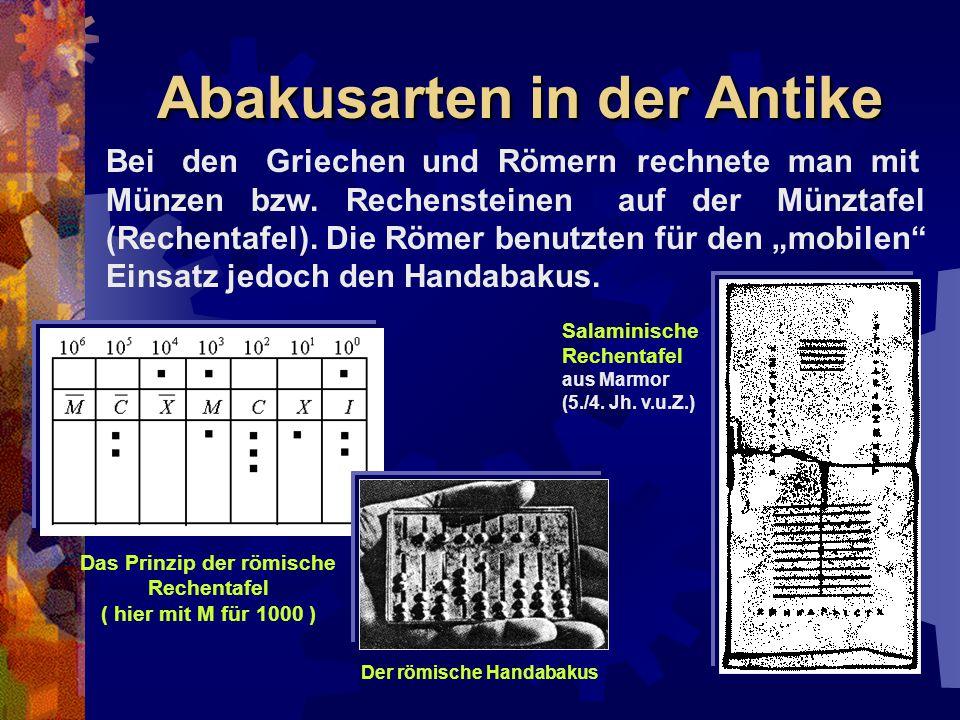 Abakusarten in der Antike Bei den Griechen und Römern rechnete man mit Münzen bzw. Rechensteinen auf der Münztafel (Rechentafel). Die Römer benutzten