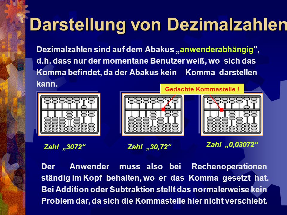 """Darstellung von Dezimalzahlen Dezimalzahlen sind auf dem Abakus """"anwenderabhängig"""