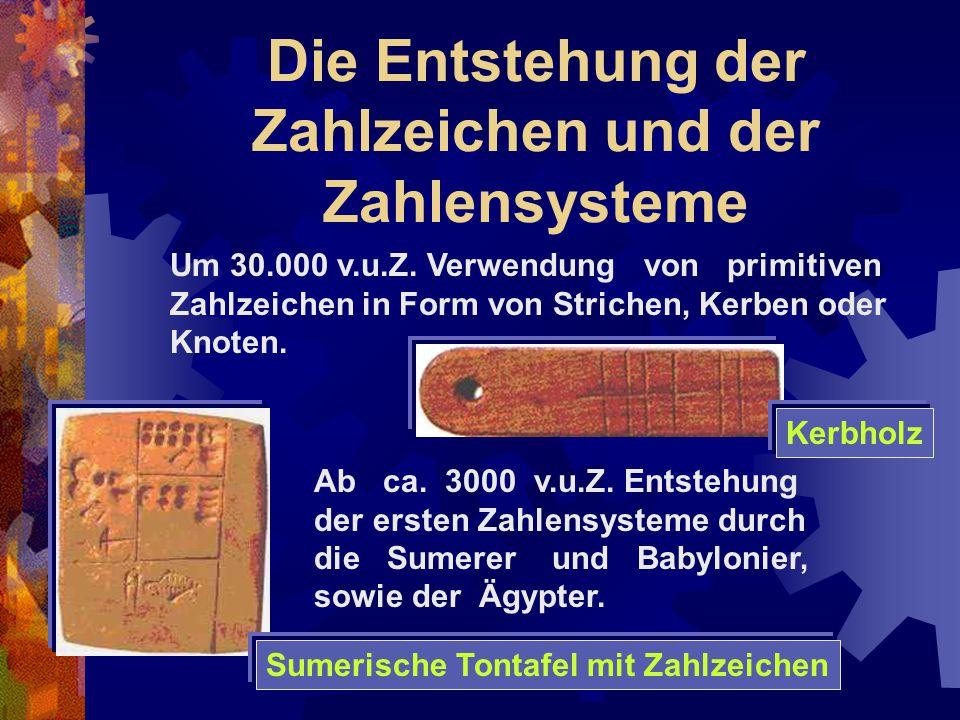 Die Entstehung der Zahlzeichen und der Zahlensysteme Kerbholz Sumerische Tontafel mit Zahlzeichen Um 30.000 v.u.Z. Verwendung von primitiven Zahlzeich