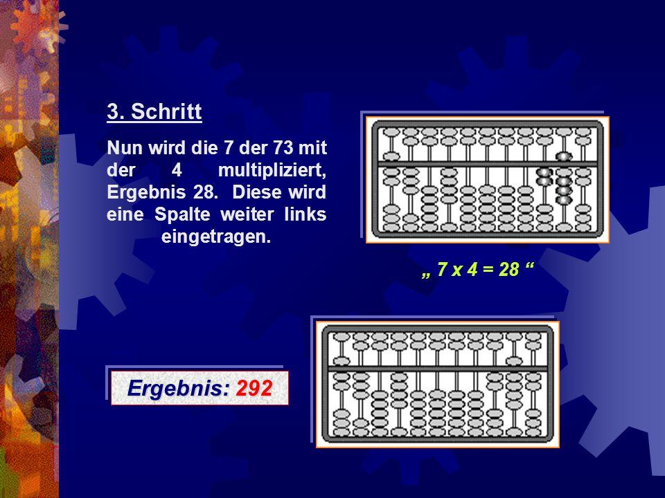 """Ergebnis: 292 Nun wird die 7 der 73 mit der 4 multipliziert, Ergebnis 28. Diese wird eine Spalte weiter links eingetragen. """" 7 x 4 = 28 """" 3. Schritt"""