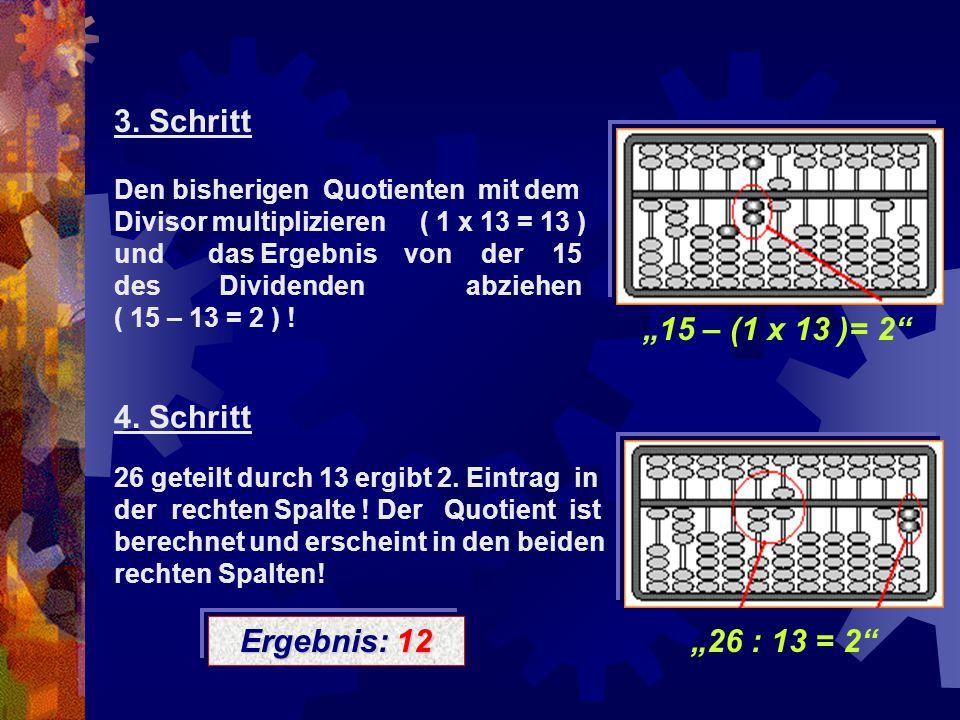 """""""15 – (1 x 13 )= 2"""" 3. Schritt Den bisherigen Quotienten mit dem Divisor multiplizieren ( 1 x 13 = 13 ) und das Ergebnis von der 15 des Dividenden abz"""