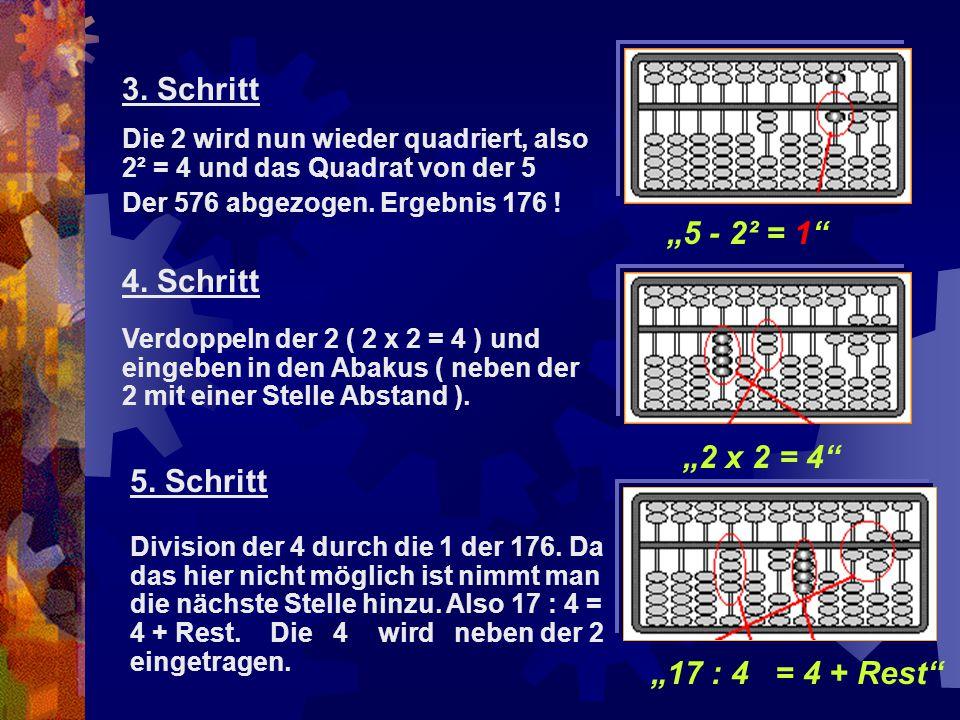 """""""5 - 2² = 1"""" """"2 x 2 = 4"""" 3. Schritt Die 2 wird nun wieder quadriert, also 2² = 4 und das Quadrat von der 5 Der 576 abgezogen. Ergebnis 176 ! 4. Schrit"""