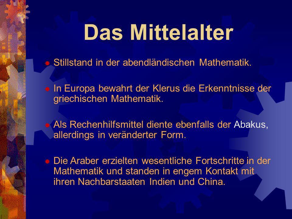 Das Mittelalter  Stillstand in der abendländischen Mathematik.  In Europa bewahrt der Klerus die Erkenntnisse der griechischen Mathematik.  Als Rec
