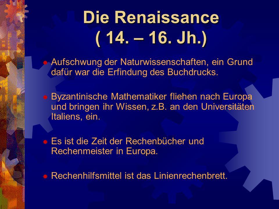 Die Renaissance ( 14. – 16. Jh.)  Aufschwung der Naturwissenschaften, ein Grund dafür war die Erfindung des Buchdrucks.  Byzantinische Mathematiker