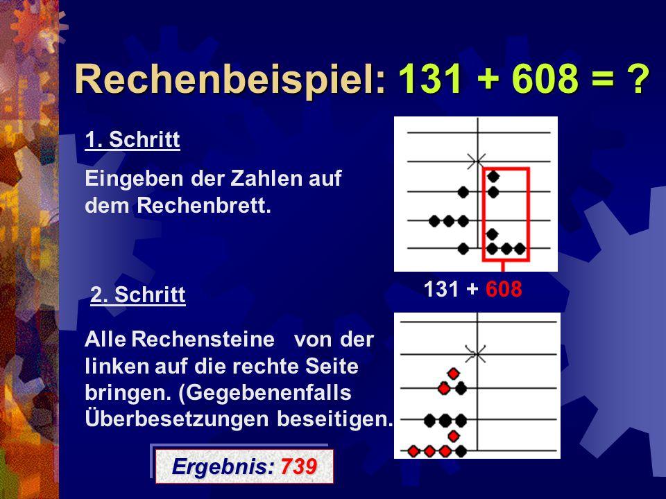 Rechenbeispiel: 131 + 608 = ? 131 + 608 1. Schritt Eingeben der Zahlen auf dem Rechenbrett. 2. Schritt Alle Rechensteine von der linken auf die rechte