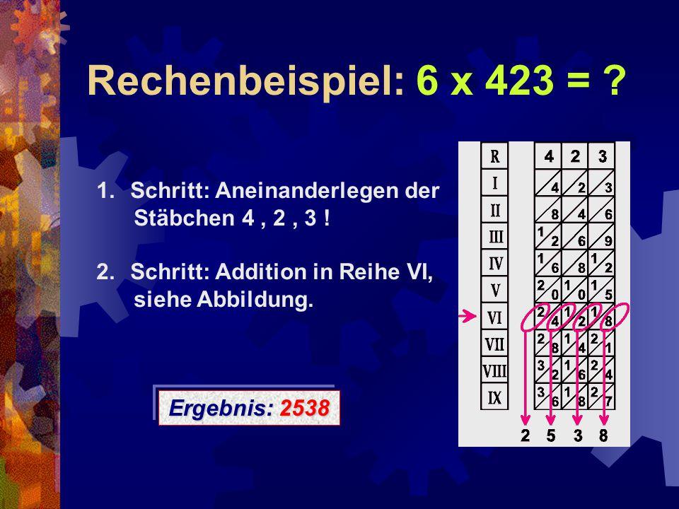 Rechenbeispiel: 6 x 423 = ? 1.Schritt: Aneinanderlegen der Stäbchen 4, 2, 3 ! 2.Schritt: Addition in Reihe VI, siehe Abbildung. Ergebnis: 2538