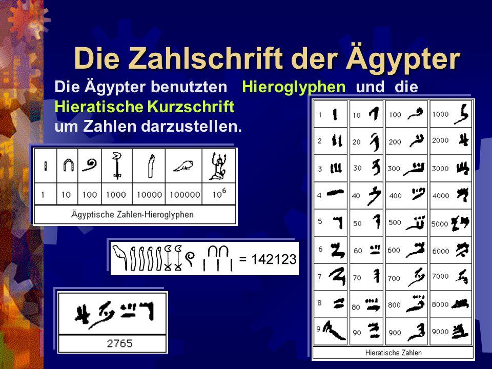 Die Zahlschrift der Ägypter Die Ägypter benutzten Hieroglyphen und die Hieratische Kurzschrift um Zahlen darzustellen.