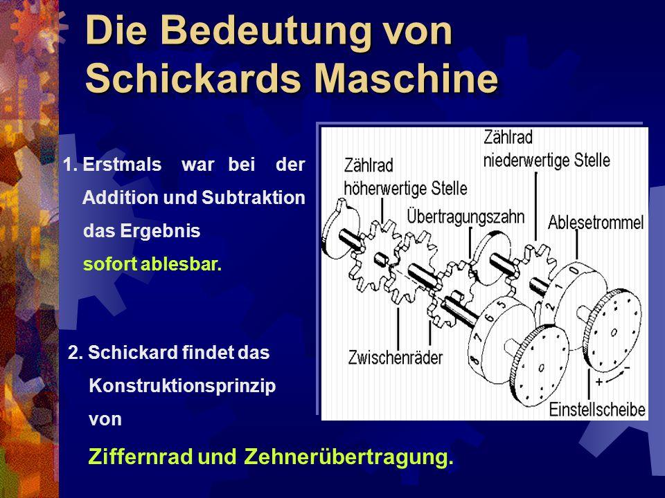 Die Bedeutung von Schickards Maschine 1. Erstmals war bei der Addition und Subtraktion das Ergebnis sofort ablesbar. 2. Schickard findet das Konstrukt
