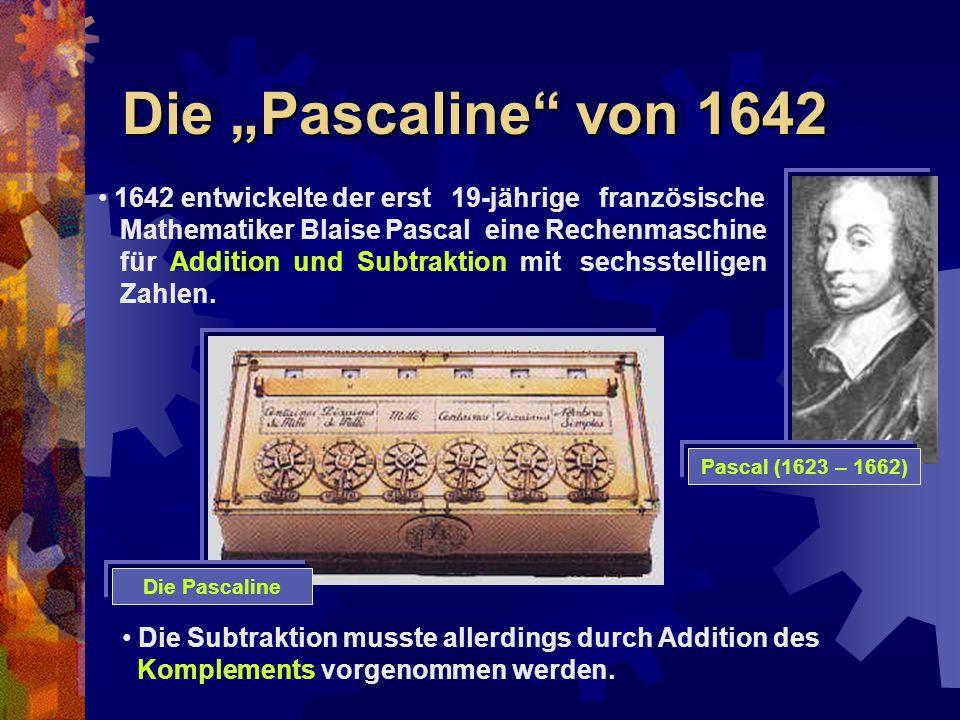 """Die """"Pascaline"""" von 1642 1642 entwickelte der erst 19-jährige französische Mathematiker Blaise Pascal eine Rechenmaschine für Addition und Subtraktion"""