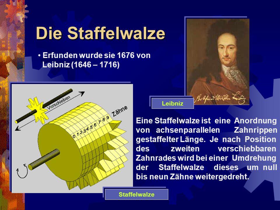 Die Staffelwalze Erfunden wurde sie 1676 von Leibniz (1646 – 1716) Eine Staffelwalze ist eine Anordnung von achsenparallelen Zahnrippen gestaffelter L