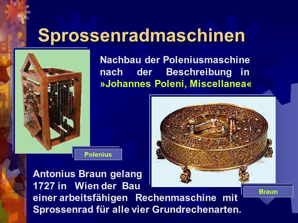 SprossenradmaschinenSprossenradmaschinen Nachbau der Poleniusmaschine nach der Beschreibung in »Johannes Poleni, Miscellanea« Antonius Braun gelang 17