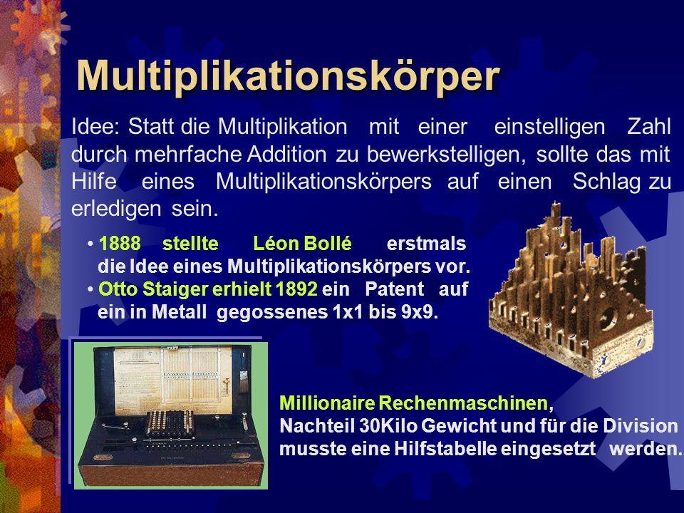 MultiplikationskörperMultiplikationskörper Idee: Statt die Multiplikation mit einer einstelligen Zahl durch mehrfache Addition zu bewerkstelligen, sol