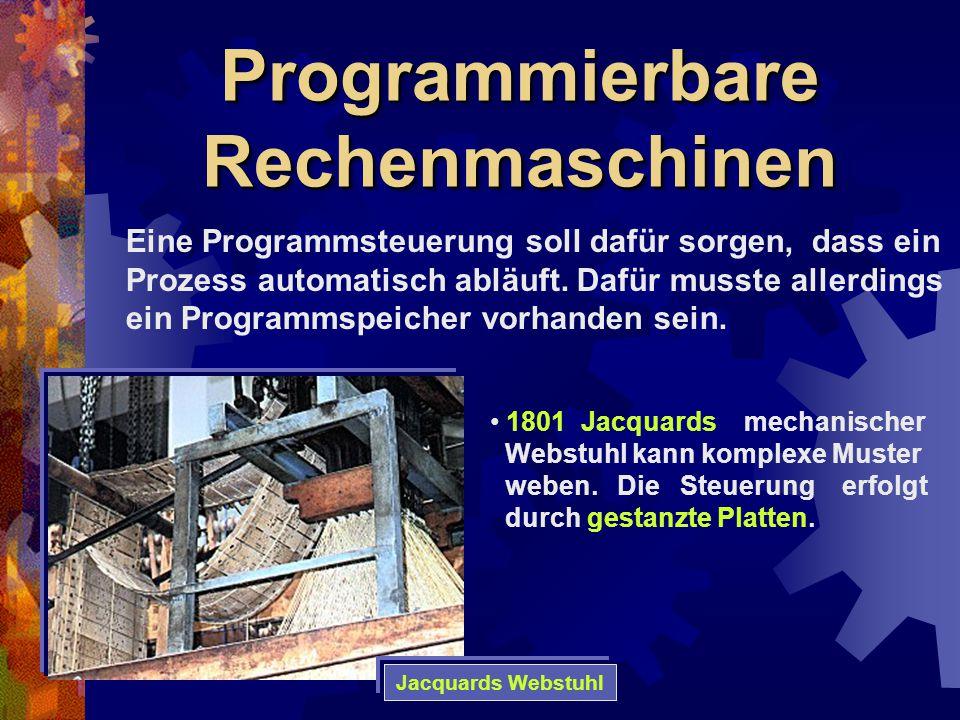 Programmierbare Rechenmaschinen 1801 Jacquards mechanischer Webstuhl kann komplexe Muster weben. Die Steuerung erfolgt durch gestanzte Platten. Eine P