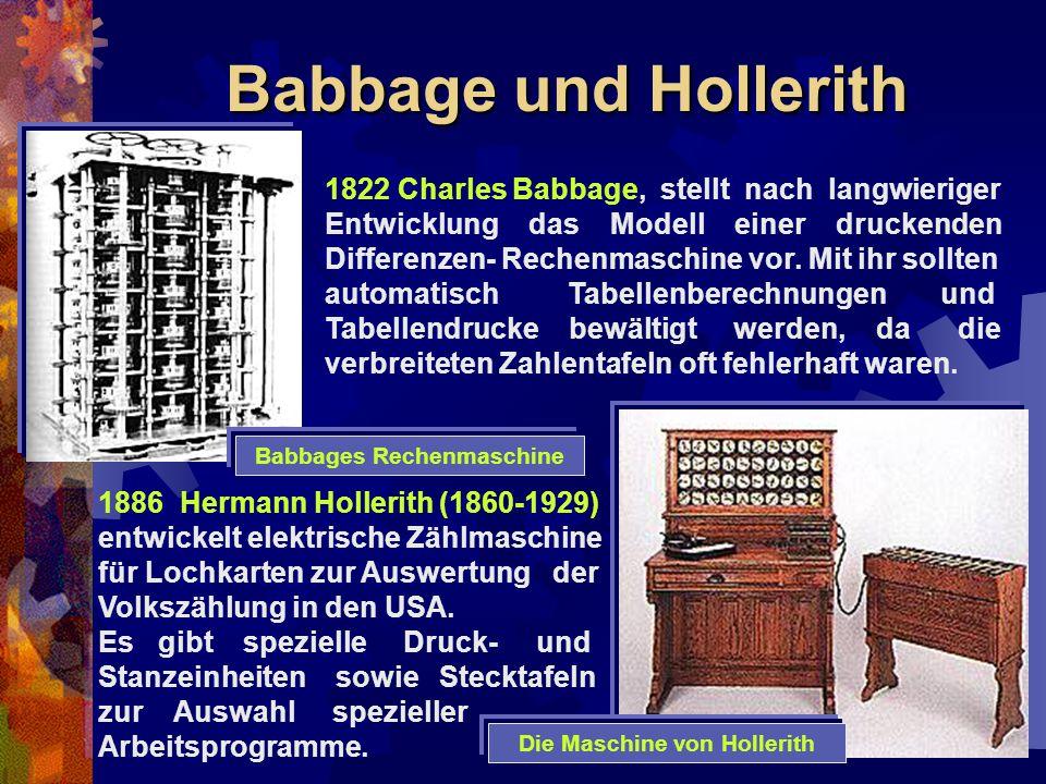 Babbage und Hollerith 1886 Hermann Hollerith (1860-1929) entwickelt elektrische Zählmaschine für Lochkarten zur Auswertung der Volkszählung in den USA