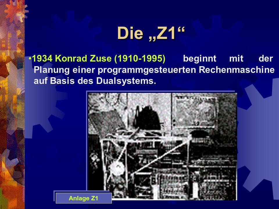 """Die """"Z1"""" 1934 Konrad Zuse (1910-1995) beginnt mit der Planung einer programmgesteuerten Rechenmaschine auf Basis des Dualsystems. Anlage Z1"""