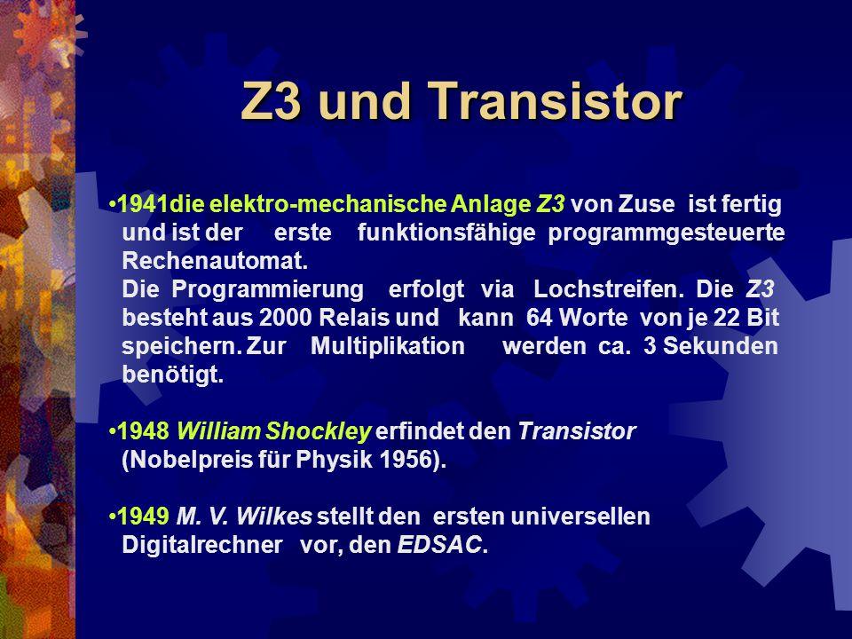Z3 und Transistor 1941die elektro-mechanische Anlage Z3 von Zuse ist fertig und ist der erste funktionsfähige programmgesteuerte Rechenautomat. Die Pr