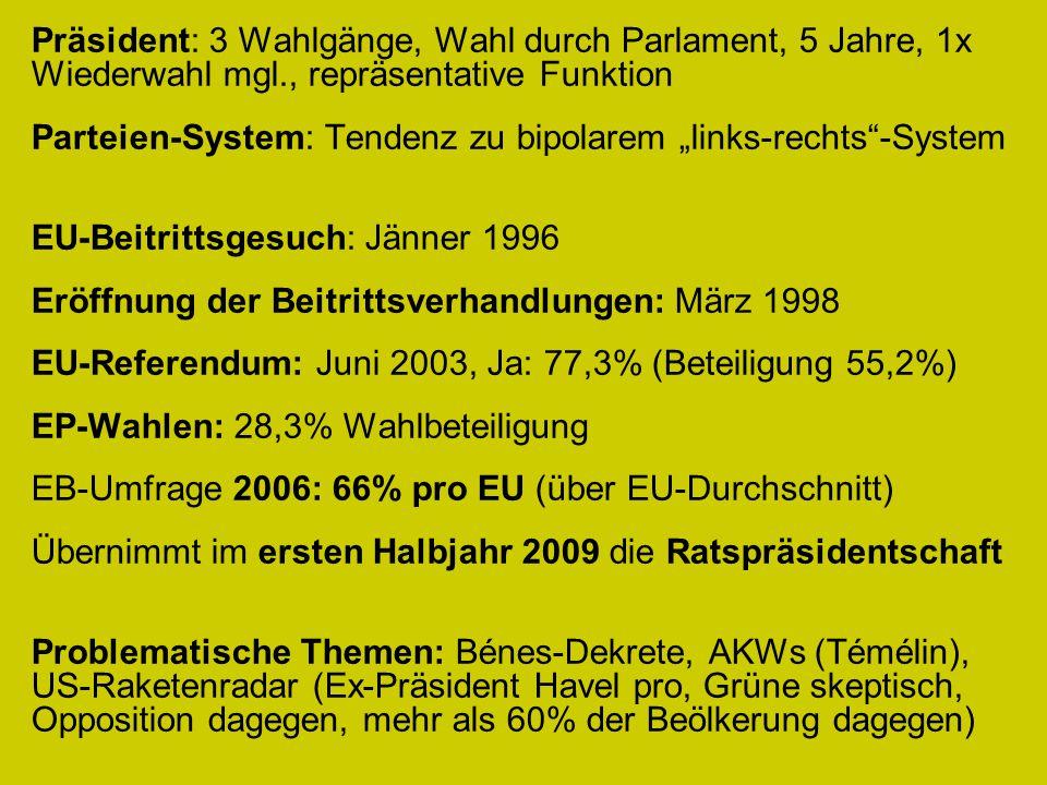 """Präsident: 3 Wahlgänge, Wahl durch Parlament, 5 Jahre, 1x Wiederwahl mgl., repräsentative Funktion Parteien-System: Tendenz zu bipolarem """"links-rechts -System EU-Beitrittsgesuch: Jänner 1996 Eröffnung der Beitrittsverhandlungen: März 1998 EU-Referendum: Juni 2003, Ja: 77,3% (Beteiligung 55,2%) EP-Wahlen: 28,3% Wahlbeteiligung EB-Umfrage 2006: 66% pro EU (über EU-Durchschnitt) Übernimmt im ersten Halbjahr 2009 die Ratspräsidentschaft Problematische Themen: Bénes-Dekrete, AKWs (Témélin), US-Raketenradar (Ex-Präsident Havel pro, Grüne skeptisch, Opposition dagegen, mehr als 60% der Beölkerung dagegen)"""