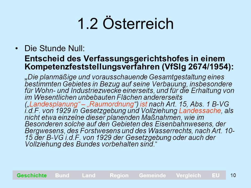 """10 1.2 Österreich Die Stunde Null: Entscheid des Verfassungsgerichtshofes in einem Kompetenzfeststellungsverfahren (VfSlg 2674/1954): """" Die planmäßige"""