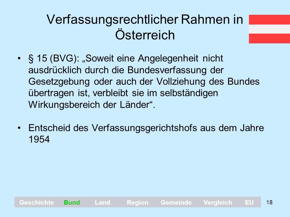"""18 Verfassungsrechtlicher Rahmen in Österreich § 15 (BVG): """"Soweit eine Angelegenheit nicht ausdrücklich durch die Bundesverfassung der Gesetzgebung o"""