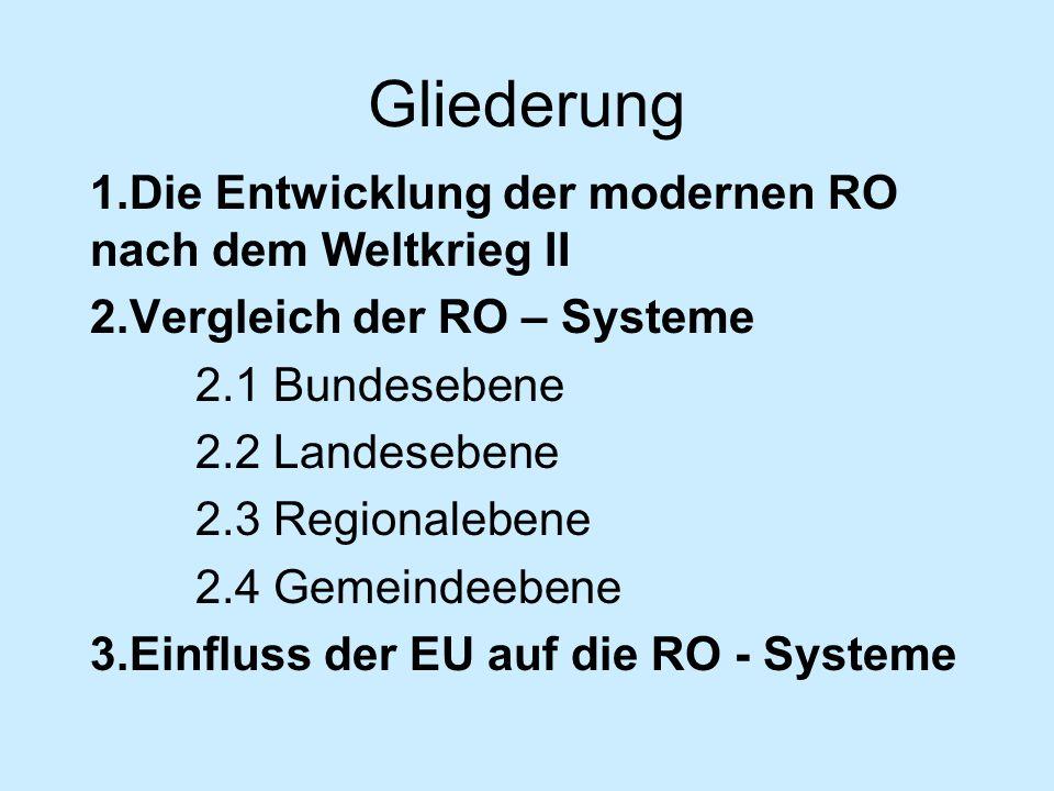 Gliederung 1.Die Entwicklung der modernen RO nach dem Weltkrieg II 2.Vergleich der RO – Systeme 2.1 Bundesebene 2.2 Landesebene 2.3 Regionalebene 2.4